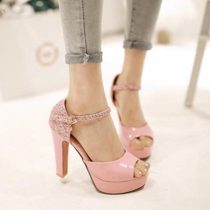 High Heel Paillette Peep-toe Pumps ..