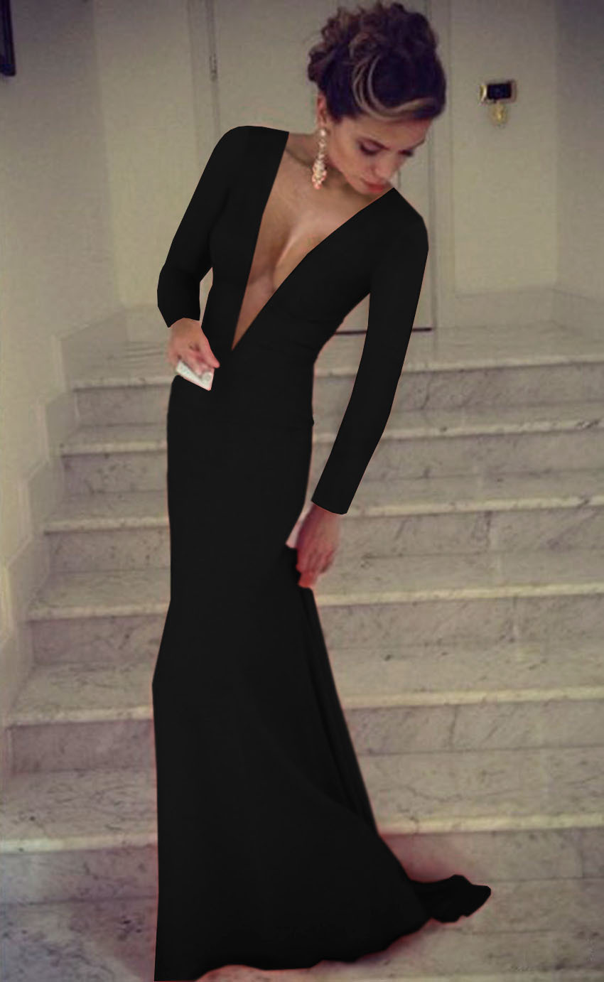 05a234c342e1 Black Deep V Sexy Party Dresses Sexy Long Sleeve Bandage Dresses ...