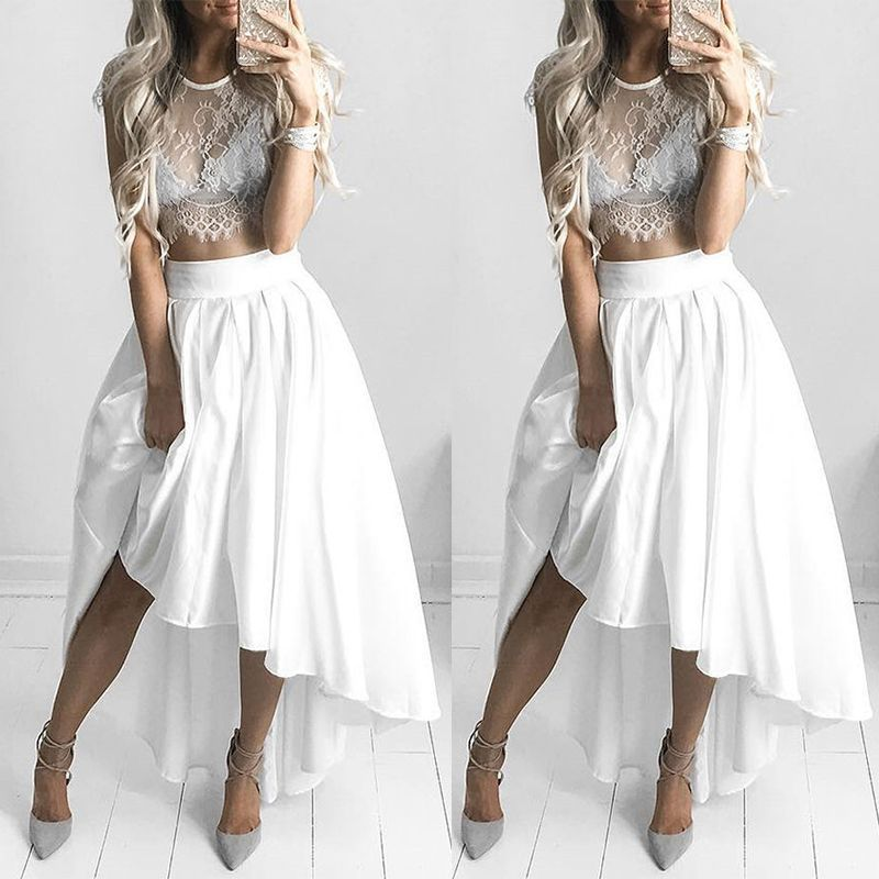 500fe5a4500f6b White Lace Sexy Short-sleeved Blouse Two-piece on Luulla