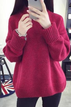 High-necked and thick sweater jumper sweater winter loose and short style undercoat for students