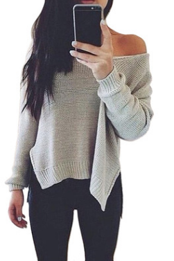 Slit Solid Color Scoop Knit Splicing Sweater