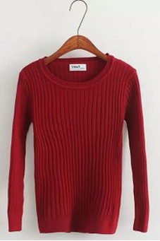 Red Knitted Crew Neck Long Sleeved Sweater