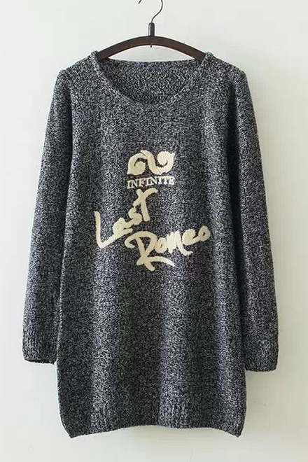 Knit embroidery letters figure thin body round collar turtleneck sweater knitting render unlined upper garment QDR