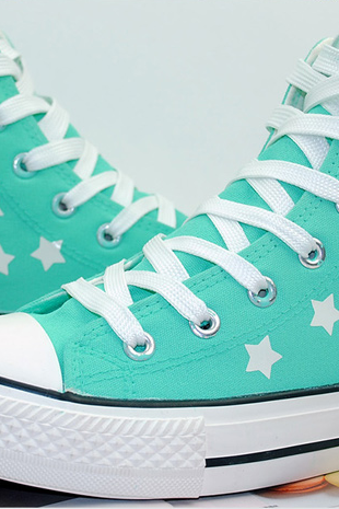 Glow in The Dark High Top Canvas Sneakers with Star Print