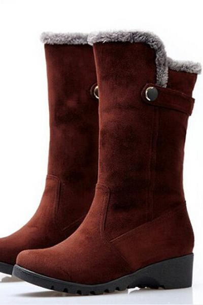 Europe And The United States In Autumn And Winter In The New Round Flat Heel Boots Slope With Frosted Leather Buckle Warm Boots