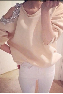 New winter pure color long sleeve T-shirt inclined shoulder round collar set auger fashion sexy T-shirt ZBY