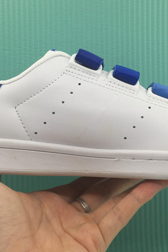 White Faux Leather Sneakers Featuring Blue Velcro Straps