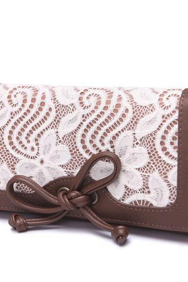 Lace Bow Long Wallet Purse Clutch
