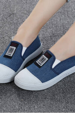 Round-Toe Denim Canvas Flat Slip-On Sneakers