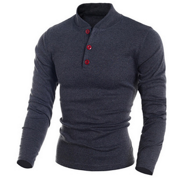 The new solid color t-shirts men long sleeve T-shirt collar cultivate one's morality ZBY